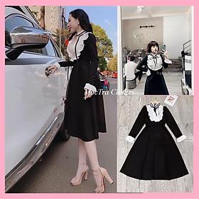 Đầm xòe tiểu thư cổ nơ dài tay dáng xòe nhẹ vintage siêu xinh, Váy kiểu nữ dự tiệc sang trọng dáng dài rẻ đẹp