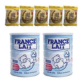 Combo 2 hộp Sữa bột France Lait số 2 (900g)  -  Dinh dưỡng cho trẻ từ 6 -12 tháng tuổi – Tặng 5 bánh quy dừa Nhật Bản hiệu Aee