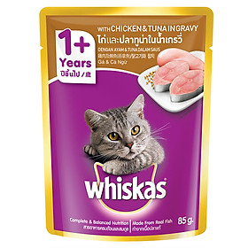 Đồ Ăn Cho Mèo Lớn Whiskas Vị Gà Và Cá Ngừ 85g