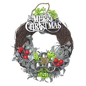 Set Vòng Nguyệt Quế Quả Châu Có Chữ Merry Christmas Trang Trí Noel 25cm Màu Trắng - Châu Trắng Mẫu 1