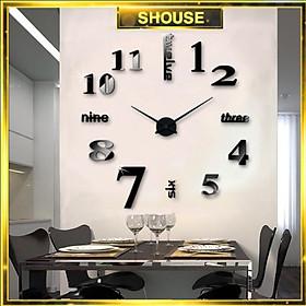 Đồng Hồ Treo Tường Dán Tường 3D Chính Hãng Shouse loại lớn bằng Xốp và Meka cao cấp trang trí nghệ thuật đẹp  treo phòng khách, phòng ngủ