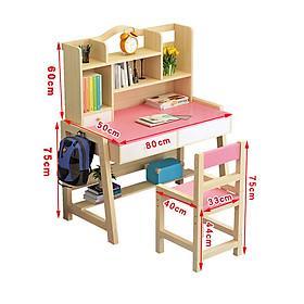 Bàn ghế học sinh thông minh chống gù lưng 80cm 2 ngăn kéo - Bàn học kèm giá sách cho bé trai bé gái đẹp