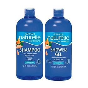 Combo 2 chai dầu gội và gel tắm chiết xuất Rong Biển Farmasi 375ml/chai