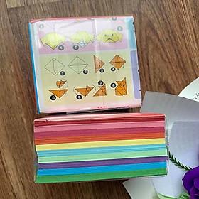 Giấy Gấp Origami, Giấy Thủ Công Gấp Hạc Gấp Hoa Gấp Hình Động Vật (7.5x7.5cm) 400 tờ.