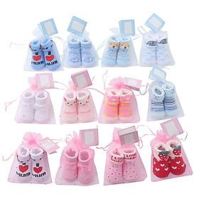Set 2 ĐÔI TẤT đựng túi lưới cao cấp cho bé từ 0-4 tháng. tất vớ sơ sinh cho bé