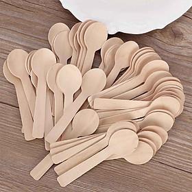 Set 100 cái Muỗng thìa gỗ 10cm dùng một lần, ăn kem, sữa chua, xôi, bánh