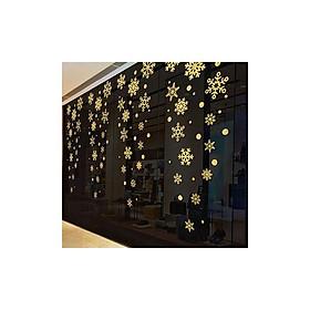 Miếng dán trang trí cửa kính mùa giáng sinh - Hình hoa tuyết rắc nhũ vàng lấp lánh
