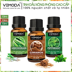 Tinh dầu xông phòng cao cấp gồm 3 chai tinh dầu nguyên chất: tinh dầu Sả chanh (10ml) + tinh dầu Vỏ quế (10ml) + tinh dầu Bạc hà (10ml) Vemoda