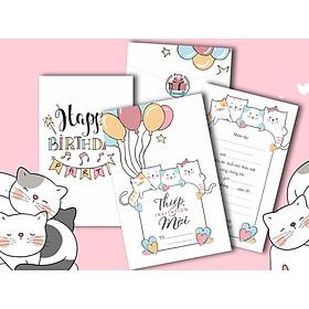 Combo 20 thiệp mời sinh nhật hình mèo con dễ thượng DQ-2051-F