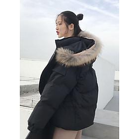 áo khoác phao nữ mũ lông