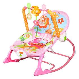 Ghế rung, Ghế nhún dành cho Bé từ sơ sinh đến 18kg, có phát nhạc kích thích sự phát triển não bộ của trẻ- Màu Hồng cho Bé Gái (TẶNG 01 tranh ghép hình bằng gỗ kích thích sự phát triển của trẻ)