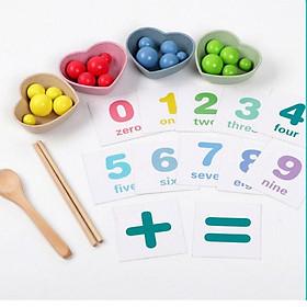 Bộ thực hành đũa gắp hạt  học đếm kèm thẻ cho trẻ mầm non