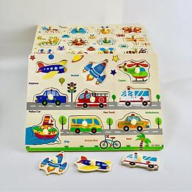 Bộ bảng ghép hình có núm gồm 5 chủ đề khác nhau ( 5 bảng) đồ chơi trí tuệ bằng gỗ MK