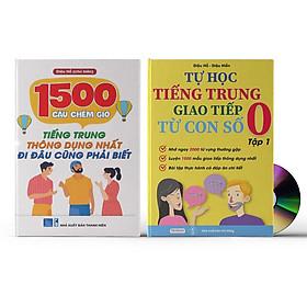 Combo 2 sách: 1500 Câu chém gió tiếng Trung thông dụng nhất + Tự Học Tiếng Trung Giao Tiếp Từ Con Số 0 Tập 1 (Có audio nghe) + DVD