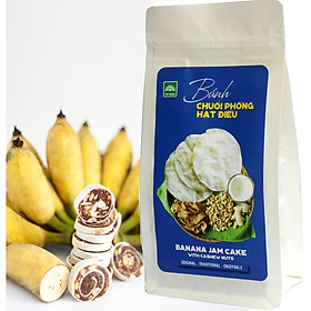 Bánh chuối phồng hạt điều Tư Bông túi 100g - món ăn vặt ít ngọt thơm ngon bổ dưỡng từ Đồng Tháp