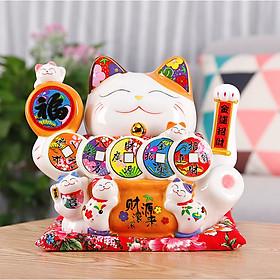 Mèo Thần Tài tay vẫy 25cm - dây tiền Khai Vận Tài Lộc (tặng kèm 50 xu vàng mini may mắn)