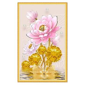 Tranh dán tường Hoa sen hồng tuyệt đẹp ánh kim sa LV-0263K