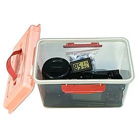 Combo hộp chống ẩm máy ảnh, flycam 3 lít (ẩm kế điện tử, 100g hạt hút ẩm xanh, tặng mút xốp)