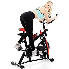 Xe đạp tập gym, xe đạp tập tại nhà, xe đạp thể thao dụng cụ tập gym tại nhà, bàn đạp kiểu lồng chân, yên xe và tay nắm có thể chỉnh độ cao, gọn gàng, không diện tích