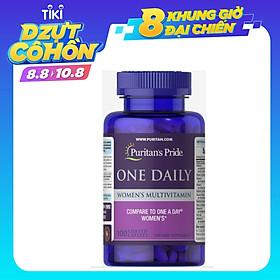 Viên uống Puritan's Pride One Daily Women's Multivitamin 100v bổ sung Vitamin Tổng Hợp Cho Nữ, cho xương chắc khỏe, ngăn ngừa thiếu máu, tăng cường sức đề kháng, hỗ trợ tăng cường hệ tiêu hoá, giúp làn da giữ được trẻ đẹp