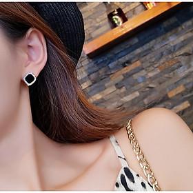 Bông tai nữ đen đính đá nhiều lựa chọn hình nơ, sao, tròn, vuông