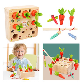 Educational Toy Carrots Shape Size Sorting Puzzle Toys Worm Catch