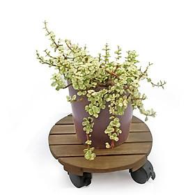 Đế lót chậu cây có bánh xe Greenhome-Đường kính 30 cm chịu lực 80kg- Chất liệu Gỗ Tràm Bông Vàng
