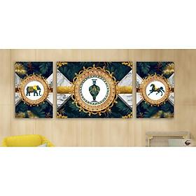 Bộ 3 tấm tranh treo tường Hiện Đại M 26715. KT 50x75cm x 1 tâm, 30x50cmx 2 tấm