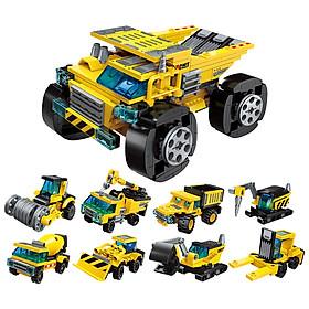 Xếp hình mô hình xe đua từ các loại xe công trình sáng tạo 8 trong 1 cho bé