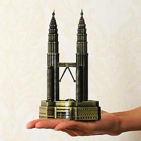 Mô hình tháp đôi Petronas cao 18 cm V.2 (Màu Vàng Rêu)