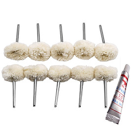 10 đầu len đánh bóng chân 3ly kèm 1 tuýp kem đánh bóng sản phẩm dùng cho máy khoan mài khắc mini
