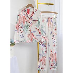 Bộ đồ mặc nhà, mặc ngủ kiểu dáng Pijama chất liệu lụa cao cấp tay dài quần dài họa tiết hoa lá nền trắng thanh lịch, trẻ trung H286