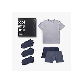 Trial Box tủ đồ tiết kiệm cho nam giới gồm 1 áo thun, 2 quần lót boxer và 3 đôi tất ngắn thương hiệu Coolmate - BOX DÙNG THỬ NO-GREY