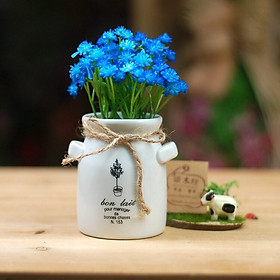 Chậu sứ hoa giả hình tai thỏ màu Xanh lam 1039