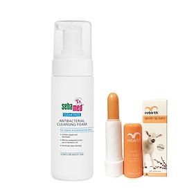 Sữa rửa mặt SEBAMED CLEAR FACE ANTIBACTERIAL CLEANSING FOAM 150ml - giảm mụn, kháng khuẩn + Tặng son dưỡng môi nhau thai cừu Rebirth