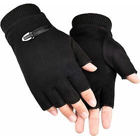 Găng tay phượt thủ nam mẫu da lộn cực đẹp thiết kế hở ngón tiện lợi DLCN01
