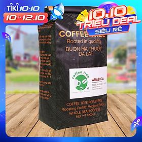 Cà phê hạt Arabica Cầu Đất nguyên chất 100% Coffee Tree 1kg thơm nồng, vị nhẹ, gu tây - Cà phê Đà Lạt tuyển chọn hoàn toàn trái chín rang công nghệ Châu Âu