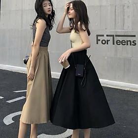 Chân váy kaki form dài hình thật vải bao đẹp-váy dài qua gối (63cm) Hàn Quốc mới nhất 2020