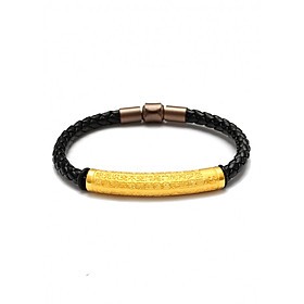 Vòng tay dây da Lắc Tâm Kinh vàng 24K - Ancarat