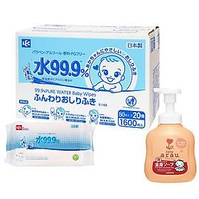 Giấy Ướt LEC 99,9% Nước Tinh Khiết E-163 (80 tờ x 20 gói) - Tặng kèm Sữa tắm dưỡng ẩm Arau baby 450ml