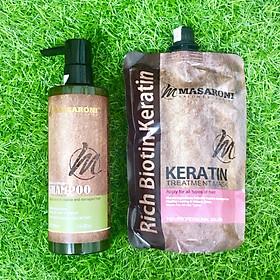 Combo gội ủ Collagen Keratin MASARONI siêu mượt cho tóc khô hư tổn 500ml-2