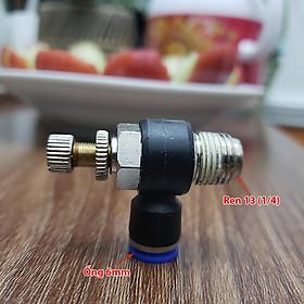 """Van tiết lưu điều chỉnh lưu lượng khí nén nối hơi ống 6 mm ren 13 1/4"""" SI604 chế trộn Co2"""