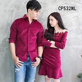 Đồ đôi nam nữ Áo đôi áo cặp Hàn Quốc Couple váy đuôi cá sơ mi đẹp màu đỏ đô