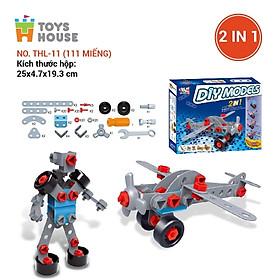 Đồ chơi phát triển kỹ năng cho bé - DIY MODELS, lắp ghép 3D mô hình 2 trong 1 Toyhouse 0620-TH110-TLH-1 nhựa mềm