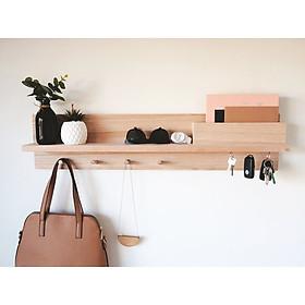 Giá kệ móc gỗ treo quần áo,mũ hay đồ vật bằng gỗ thông có ngăn để đồ riêng