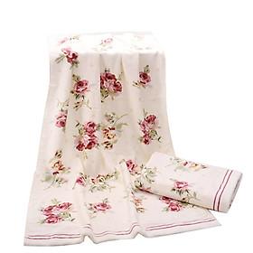 Bath Towel Washcloth Super Absorbent Rose Pattern Cotton Flower Printing Bathroom Red 35 x 75cm