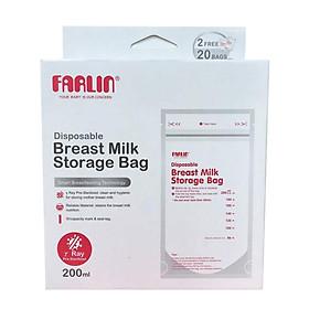 Túi trữ sữa Farlin 200ml -  Hộp 20 túi tặng 02 túi - Tiệt trùng - Chịu Nhiệt đến 110 độC - Không có BPA - BP-869.1