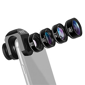 Clip-on Phone Camera Lens Phone Lens Kit 4 in 1 Including 180°Fisheye Lens 120°Wide Angle Lens 20X Macro Lens 2.0X