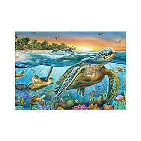 Coloured Animal Theme Diamond Painting By Number Kits Full Cattle Diy Round Resin Covered Diamond Painting Sea Turtle