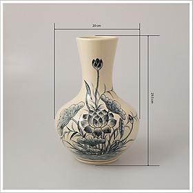 Bình hoa ánh trăng gốm Chu Đậu - kích thước F20 x H27cm